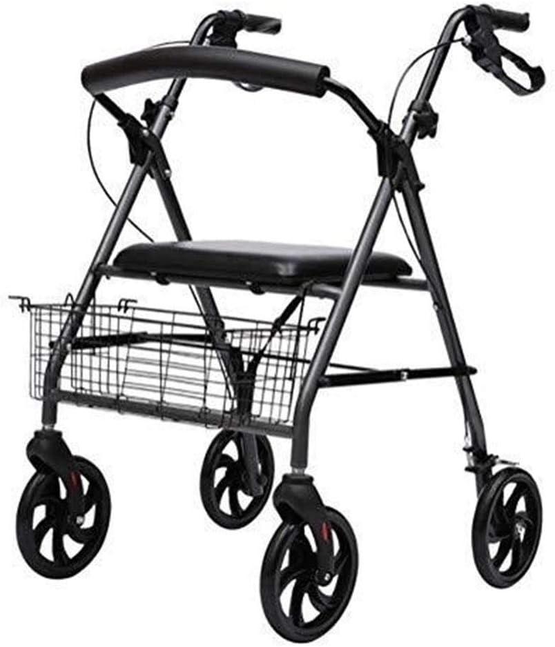 De Peso Ligero De Aluminio Plegable Walker con Frenos De Las Ruedas De Asiento Ajustable De 6 Pulgadas Y Cesta For Los Ancianos