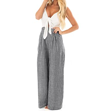 c68fd7eef92a6 Teresamoon Bowknot Romper Women Sleeveless Striped Print Jumpsuit (White