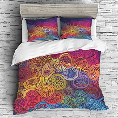 ver 2 Pillow Shams)/All Seasons/Home Comforter Bedding Sets Duvet Cover Sets for Adult Kids/Double/Modern,Abstract Leaf Shaped Colorful Wavy Curved Figures Gradient Toned Boho Kits ()