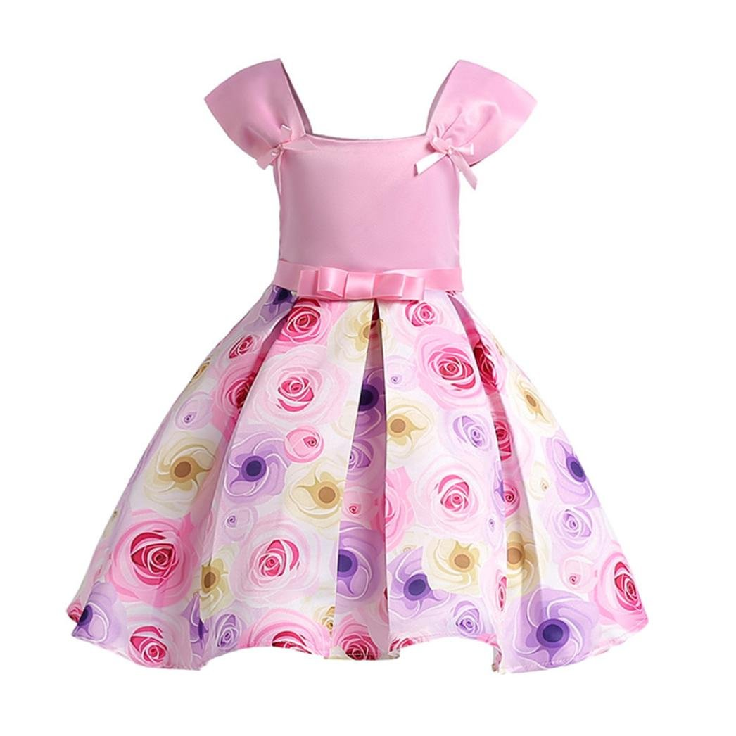 c0c8e229ea63 Amazon.com: Toddler Baby Girl Ruffle Rose Bowknot Princess Dress Floral  Fashion Wedding Pageant Ball Gown: Shoes
