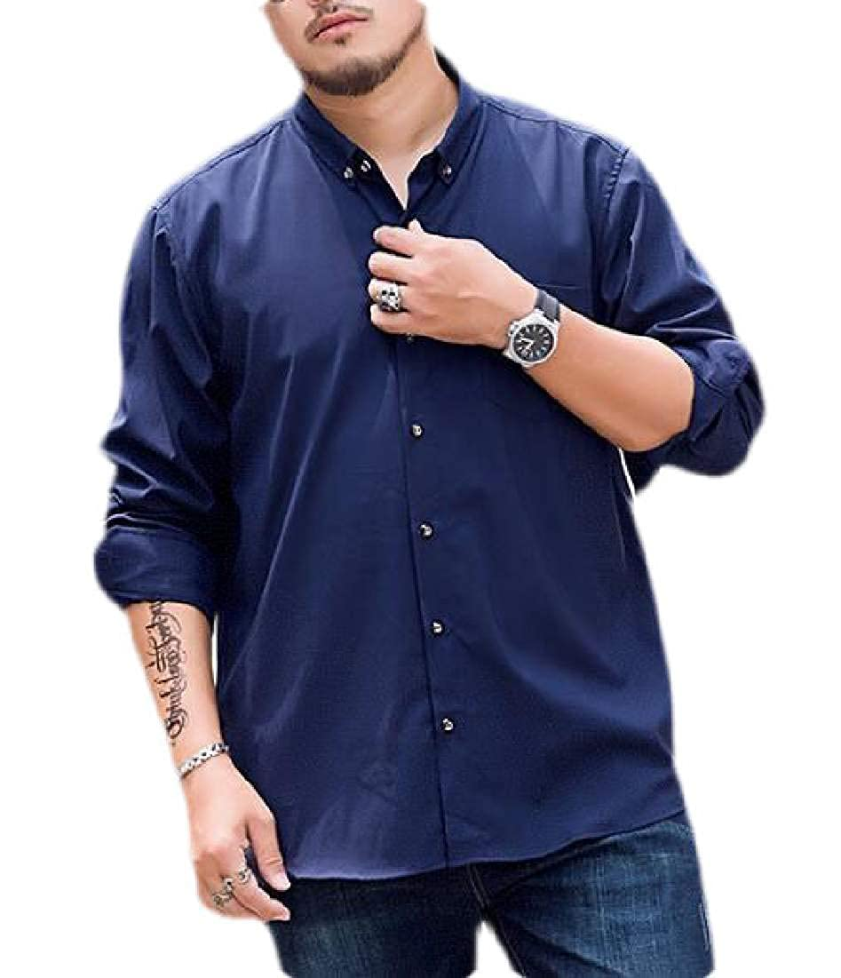 pipigo Men Big /& Tall Casual Long Sleeve Loose Button Up Dress Shirt with Pocket