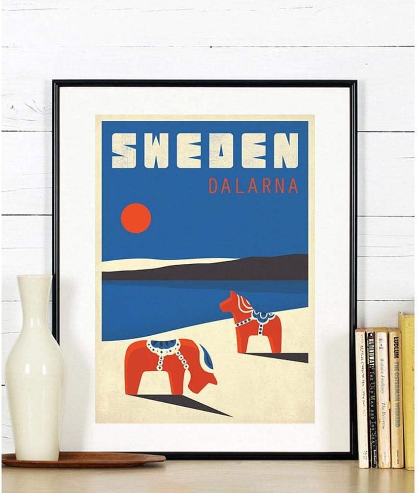 N A Schweden Dalarna Retro Kunstdruck Dala Pferd Tier Landschaft Nordic Style Wand Leinwand Malerei Wohnkultur Skandinavien 20x30CM NO Frame