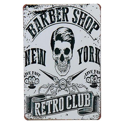 Sdbey Carteles De Metal Cartel De Placa Vintage Decoraci/ón De Pared Barber/ía Retro Carteles De Chapa De Metal Cartel De Barber/ía Cartel De Bar Pub Corte De Pelo Y Afeitado Barba Placas De Hierro