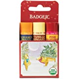 Badger - Classic Lip Balm Red Box, Lip Balm Variety Pack, Vanilla Madagascar, Tangerine Breeze and Pink Grapfruit…