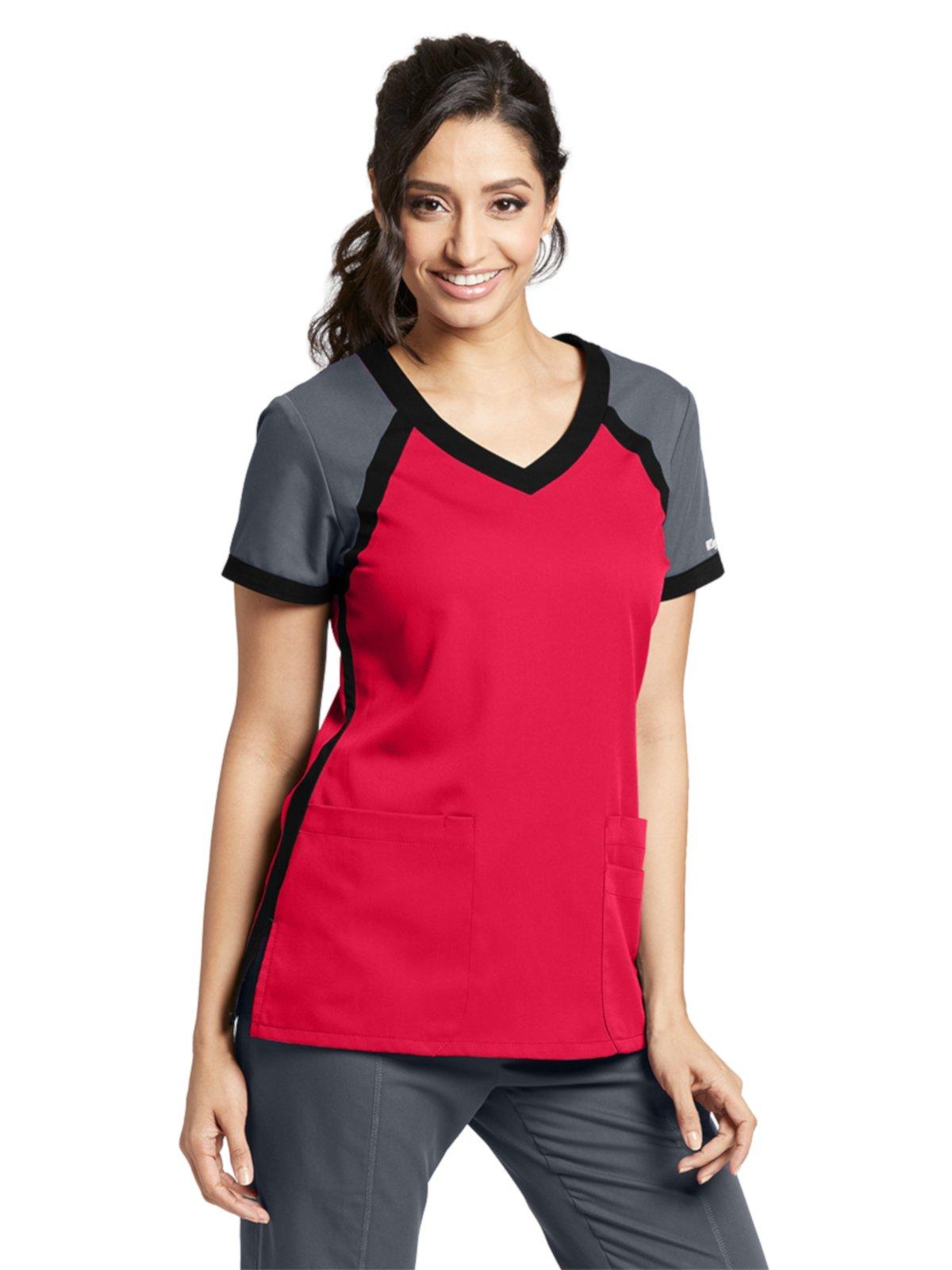 Grey's Anatomy Active 41435 Color Block V-Neck Top Scarlet Red/Granite/Black M