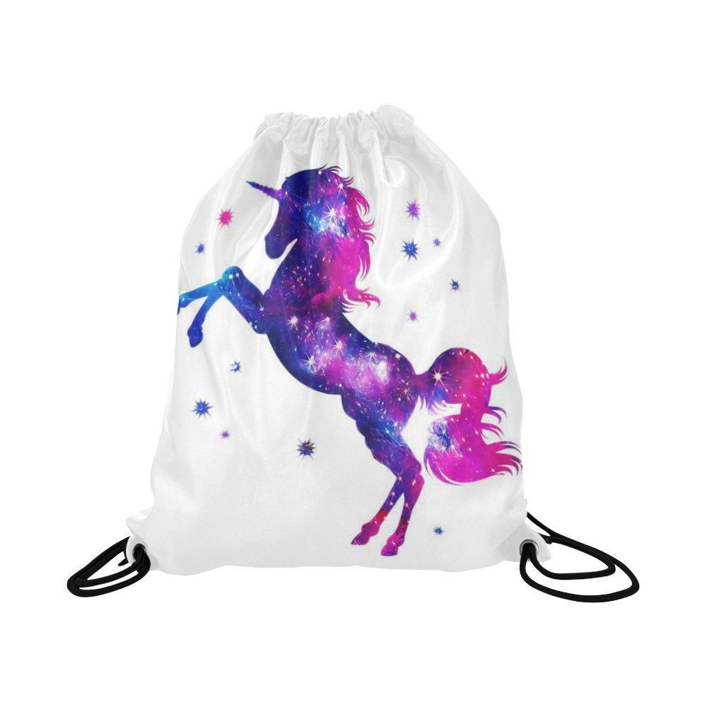 InterestPrint Cosmic Unicorn Stars Drawstring Backpack School Travel Daypack Gym Bag