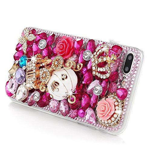 Mavis's Diary Coque iPhone 7 Plus (5.5 inch) PC Rigide Transparent Bling Strass Fleur Couronne Housse de Protection Étui Téléphone Portable Phone Case Cover+Chiffon