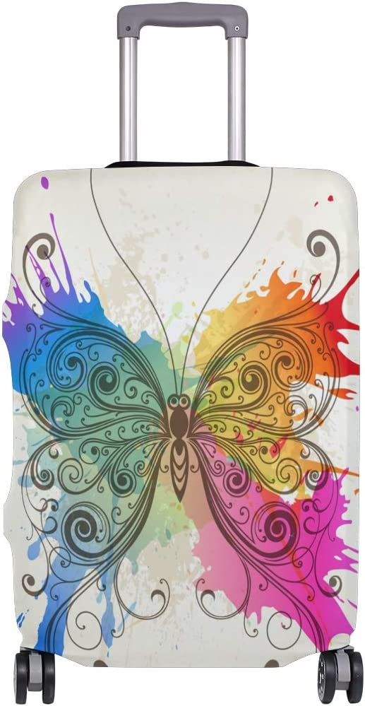 FOLPPLY Butterfly Watercolor Painting Luggage Cover Baggage Suitcase Travel Protector Fit for 18-32 Inch