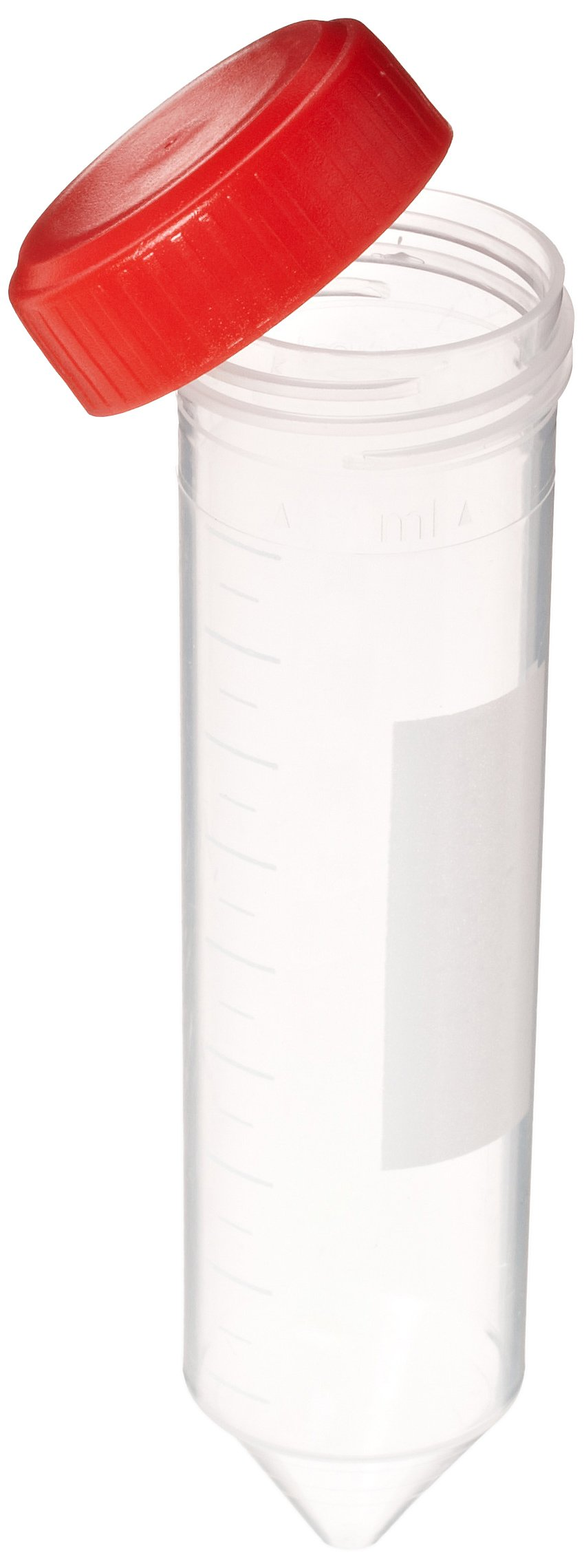 Globe Scientific 6241 Polypropylene Centrifuge Tube with Attached Red Screw Cap, 50mL Capacity, Sterile, Bag Pack (Case of 500)