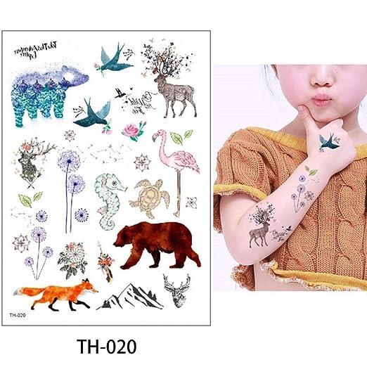 adgkitb 3 Piezas pequeña Flor Animal Tatuaje Temporal Cuerpo ...
