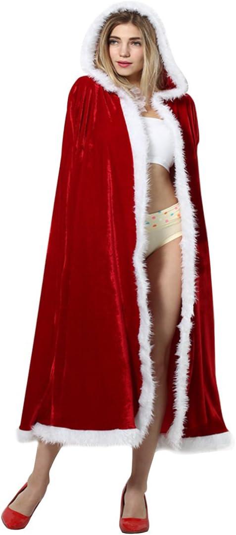 140cm Yodensity Cape De No/ël Avec Capuchon Adulte Femme En Velours Rouge M/ère No/ël V/êtement Costume De Coaplay D/éguisement Pour F/ête No/ël Carnaval Anniversaire 110cm 125cm