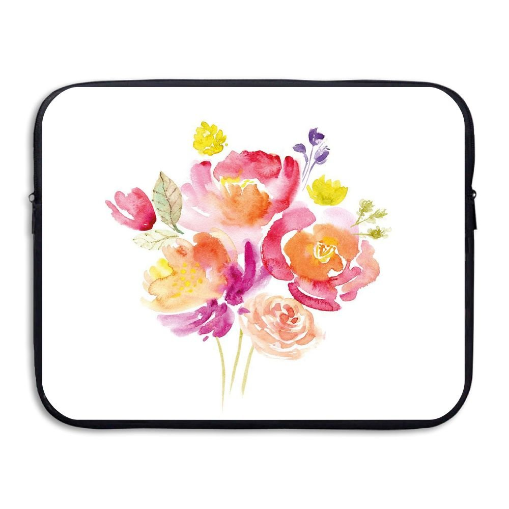XINSHOU Watercolor Bouquet Of Roses Romantic Artistic Corsage Design Bridal Wedding Flora Laptop Sleeve Case Bag Cover For 13-15 Inch Notebook Computer 15 Inch
