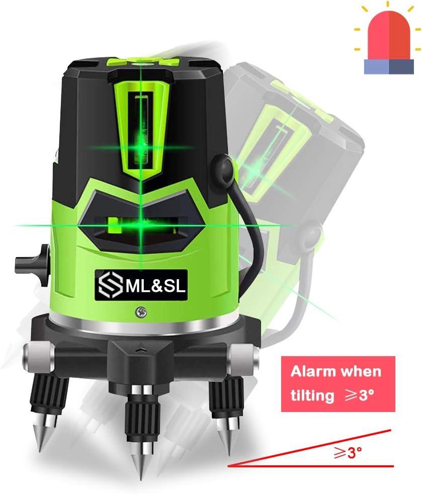 Nivel l/áser de haz verde 3D nivel l/áser autonivelante L/ínea de cruce vertical horizontal con punto de plomada hacia abajo base giratoria de 360 /°
