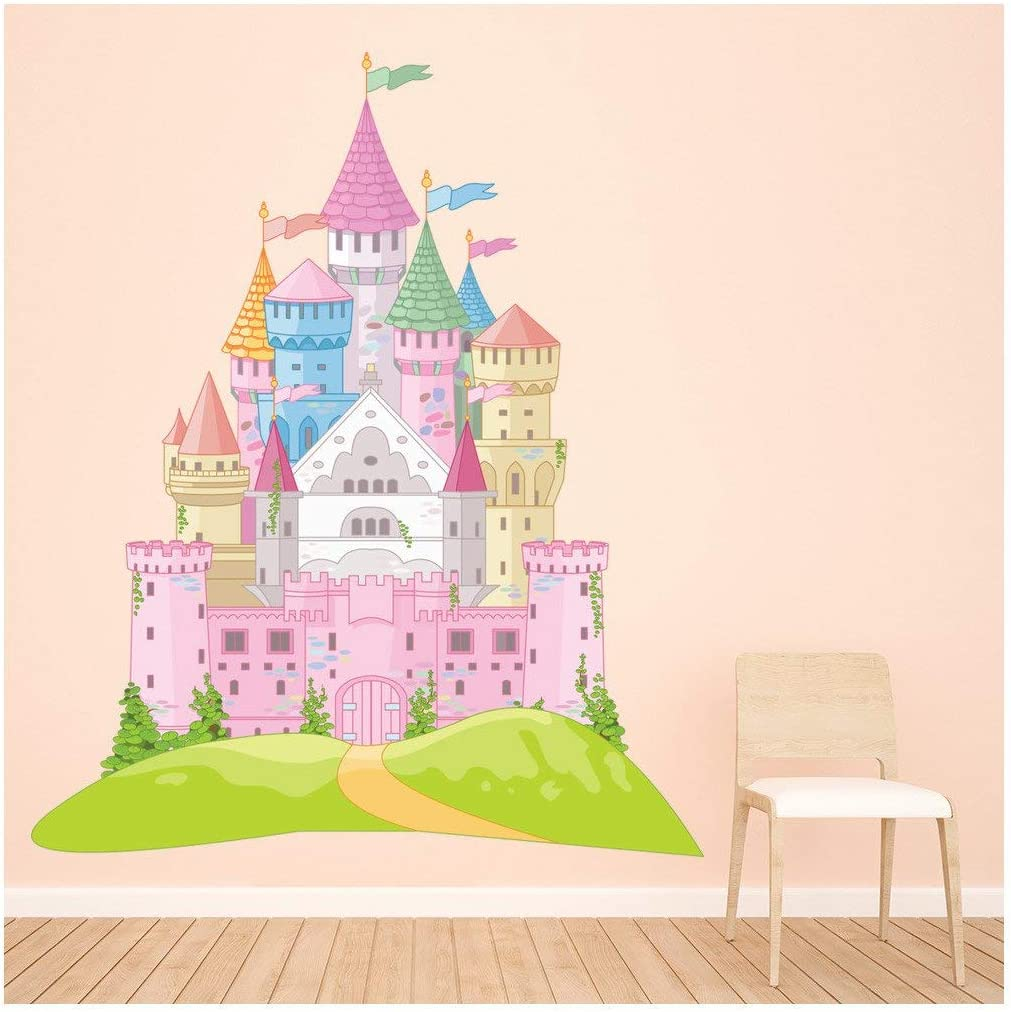 Azutura Pink Fairytale Castle Wall Sticker Princess Wall Decal Girls Bedroom Zuhause Decor Available bei 8 Sizes Xxx-Large Digital