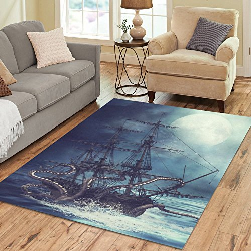 Cheap InterestPrint Octopus Kraken Area Rug Floor Mat 7′ x 5′ Feet, Sail Pirate Ship Boat Ocean Sea Waves Throw Carpet Rugs for Home Living Dining Room Decoration