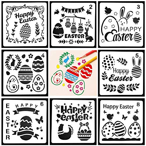 Fashionclubs Easter Plastic Stencils 8pcs Journal Stencils Plastic Planner Drawing Painting Stencils Templates Set for Notebook Diary DIY Craft Scrapbooking Cards Making,5 x 5inches