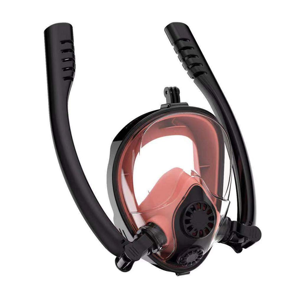 UPSURF HJKB K2 Full Face Snorkel Mask, Adult Double Tubes Backstroke Swimming Snorkel Scuba Diving Mask Antifog 180°Panoramic View Snorkel Head Set (Black+Coral red)