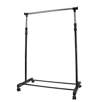 qobobo Perchero de Burro Ajustable Estante para Ropa Soporte Regulable Perchero con Ruedas Perchero con Zapatero,Negro
