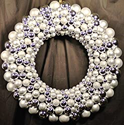 Silver Christmas Ball Ornaments with Tinsel 45 Inch Festive Holiday Wreath