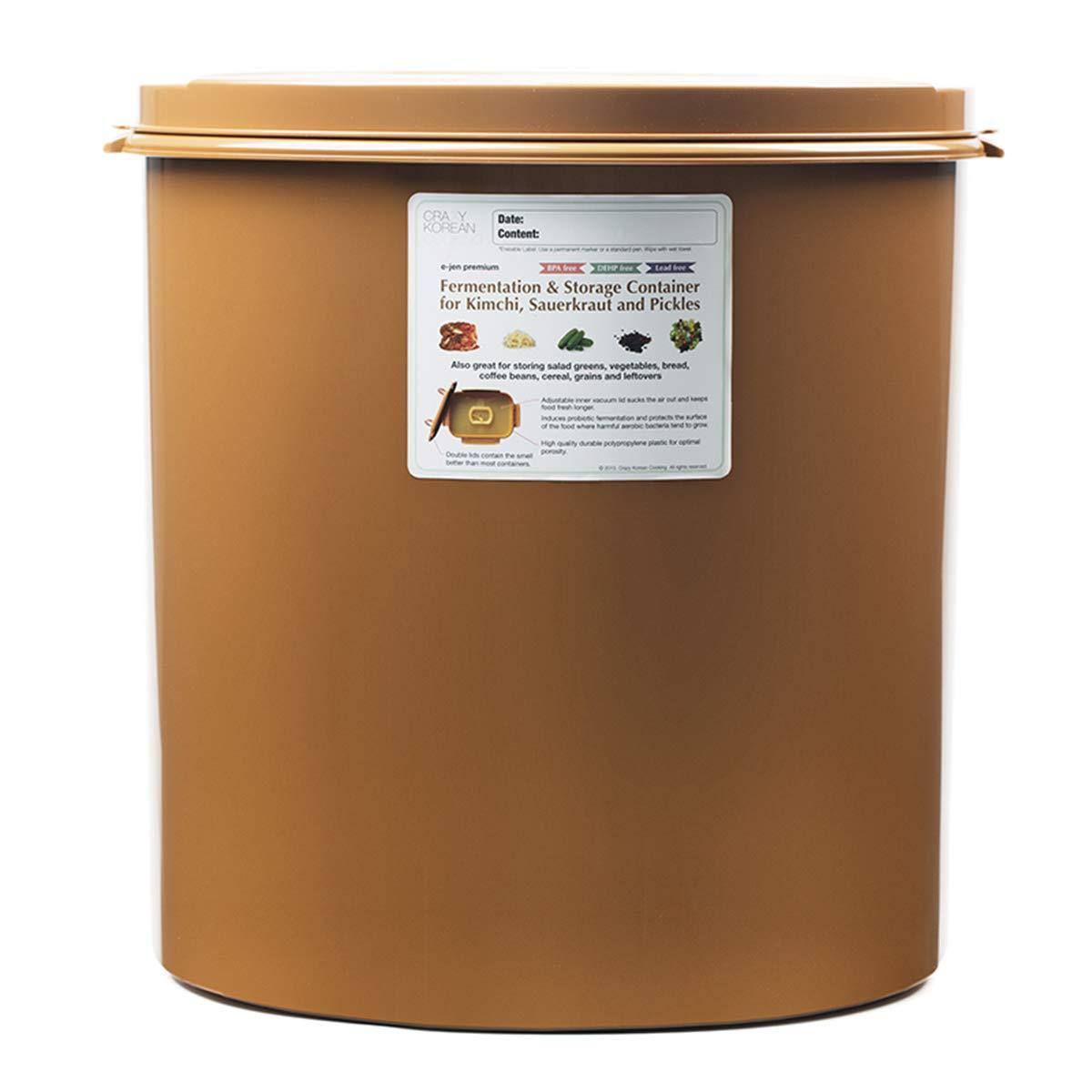Premium Kimchi, Sauerkraut Fermentation and Storage Container with Inner Vacuum Lid - 11.8 Gallon (45L) Round Shape