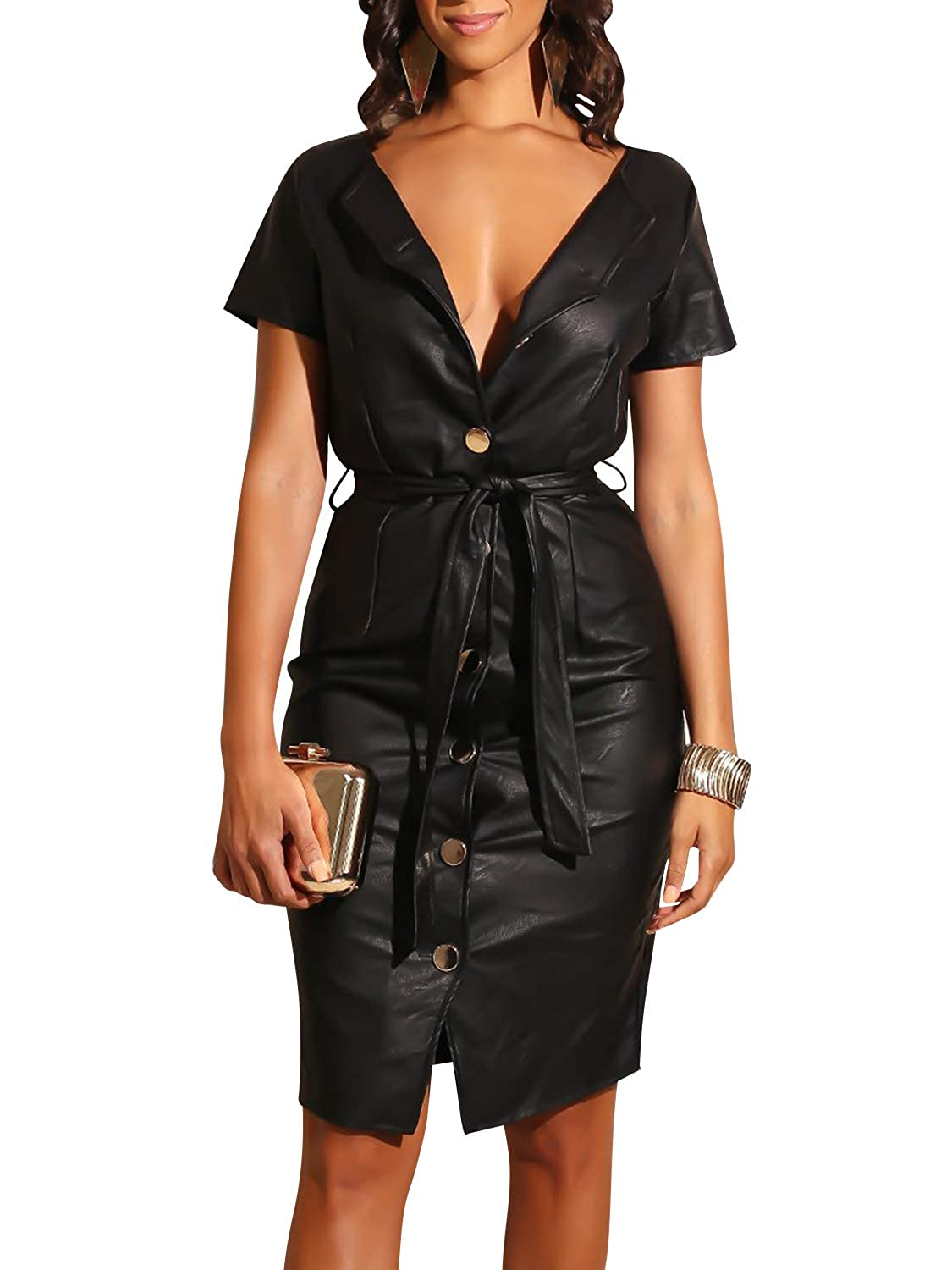 62ce6de68f5 Glamaker Women s Faux Leather Button Down Party Dress Short Sleeve Bodycon  V Neck Dress with Belt at Amazon Women s Clothing store