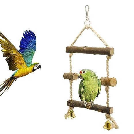 Pájaro de Juguete Loro Madera Columpio Soporte Cuerda de algodón ...