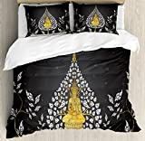 Lunarable Asian King Size Duvet Cover Set by, Ancient Religious Thai Character with Floral Elements Meditation, Decorative 3 Piece Bedding Set with 2 Pillow Shams, Charcoal Grey White Yellow