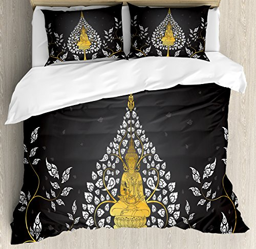 Lunarable Asian King Size Duvet Cover Set by, Ancient Religious Thai Character with Floral Elements Meditation, Decorative 3 Piece Bedding Set with 2 Pillow Shams, Charcoal Grey White Yellow by Lunarable