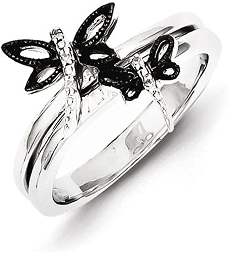Jewelry Adviser Rings Sterling Silver Rhodium Black /& White Diam Mens Ring
