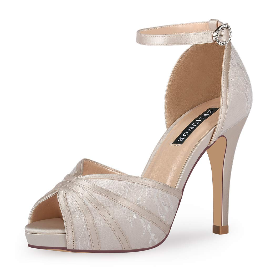 ac15085d1088b ERIJUNOR Women's High Heel Sandals Lace Satin Ankle Strap Evening Party  Prom Wedding Shoes