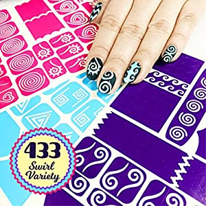 Nail Art Stencils Stickers Vinyl - 'Swirl Collection' 433 Guides Kit - 23 Shapes: Waves, Curvy & More Adhesives Stripe Patterns Designs in 3 Sheets Supplies Tape Foil Decals Craft Gift