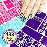 #6: 433 Nail Art Stencils Vinyl - 23 Different Swirl Shapes: Waves, Heart, Curvy, French & More Adhesives Stripe Guides Patterns Designs 3 Sheets Supplies Kit Sticker Tape Decal Craft Gift Teen Girl