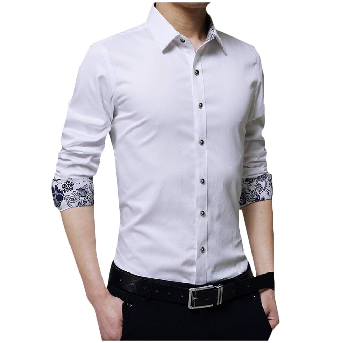 Fieer Mens Button Floral Printed Stitch Plus Size Lapel Fit T-Shirts Shirt