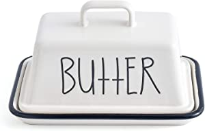 KVV Porcelain Butter Dish with Handle Lid,5.1 Inch Wide 7.5 Inches Lenght,Dishwasher Safe,Cool Butter Dish ,Rectangle Imitation Enamel with Cover,Ceramics Large size (Ivory)