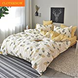 #8: ClothKnow Yellow Duvet Cover Sets Full/Queen 100 Cotton Reversible 3 Pieces Pineapple Fruit - 1 Duvet Cover with Zipper Closure 2 Envelope Pillowcases Standard