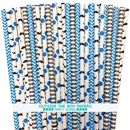 Outside the Box Papers Mustache Themed Paper Straw Set - 7.75 Inches Pack of 125 Black, White, Blue