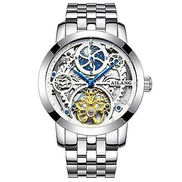 Gskj Reloj de Hombre Completamente automatico Relojes mecanicos Moda Impermeable estereoscópico Correa de Cuero/Metal