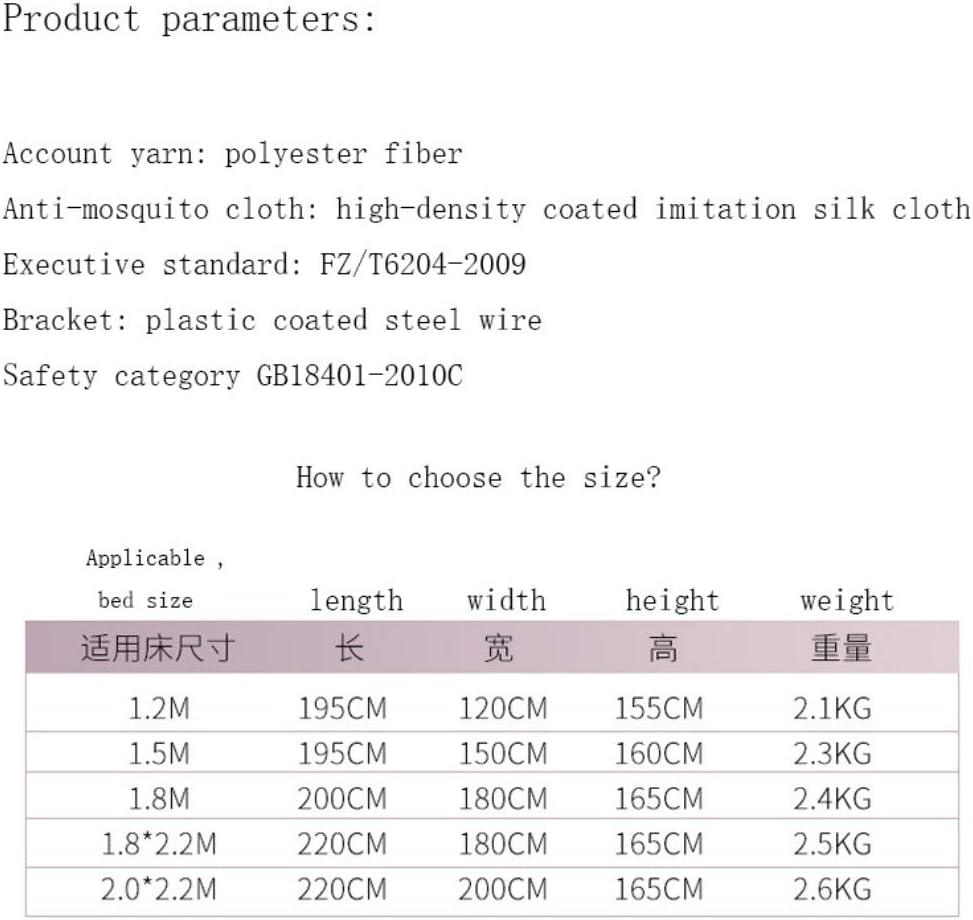 1.2 * 1.95 * 1.55m Moustiquaire Baldaquin pour Lits Doubles,,Installation gratuite de filets /à glissi/ère carr/és /à rehaussement enti/èrement automatiques moustique inf/érieur complet G double porte