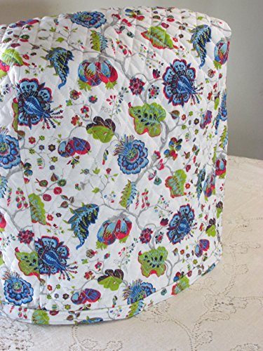 KitchenAid Mixer Cover - Blue Red & Green Morocco Design with Royal Blue Reverse - Reversible Quilted Kitchen Appliance Dust Cover - Size and Pocket Options