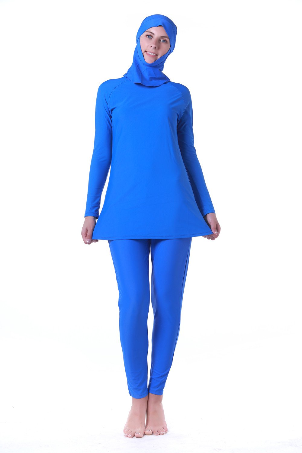 Muslim Women Swimwear Full Coverage Islamic Modest Swimsuit 3 Pieces Full Body with Hijab Sun Protection (M, ZH14005-1)