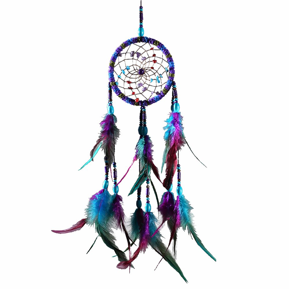 MoGist Traditional Handmade Colorful Dream Catcher Circular Net with Feather Beads Designed Wall Car Hang Decoration Ornaments Craft Gifts