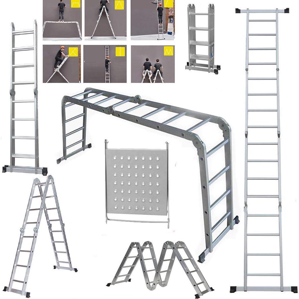Escalera telescópica de aluminio multiusos plegable, con bloqueo de seguridad de goma y pies de goma antideslizante, plateado: Amazon.es: Bricolaje y herramientas