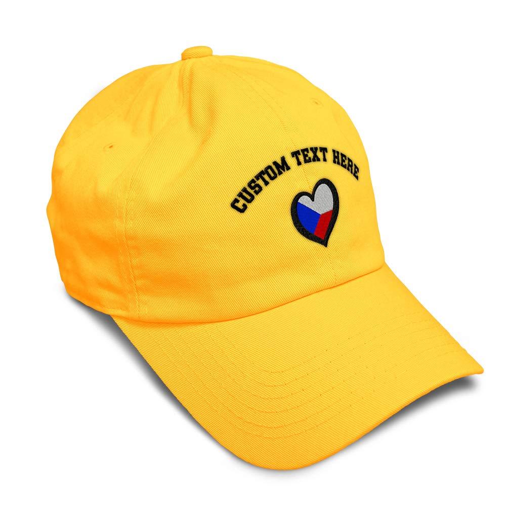 Custom Soft Baseball Cap Czechia Flag Heart-Shaped Embroidery Twill Cotton