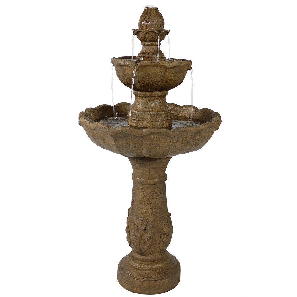 Sunnydaze Two Tier Outdoor Water Fountain, 38 Inch Tall Blooming Flower Design