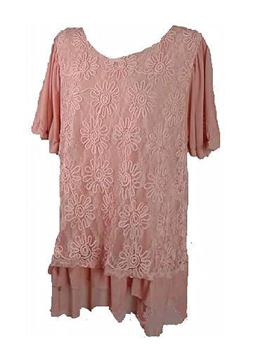 529f8266975b1 Lady Noiz Layered Lace Short Sleeve Ruffle Tunic Shirt Top Blouse Peach  Pink (1XL)