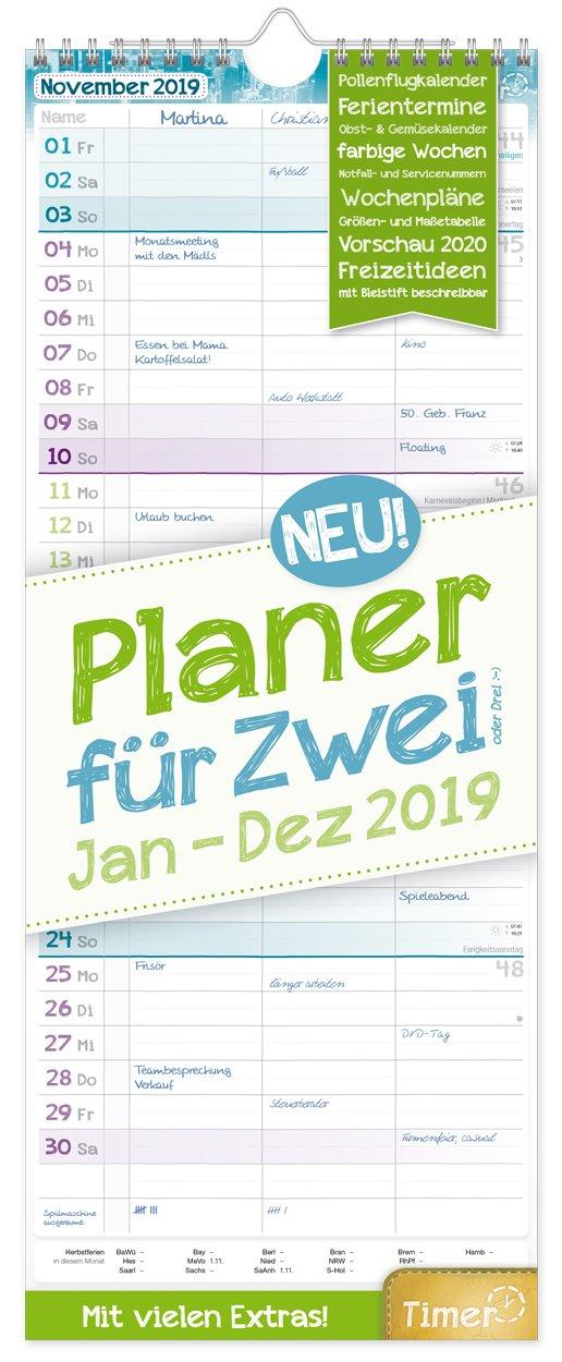 Planer für Zwei 2019 17x42cm, 3 Spalten, Wandkalender 12 Monate Jan-Dez 2019 - Wandplaner Chäff-Timer, Ferientermine, viele Zusatzinfos