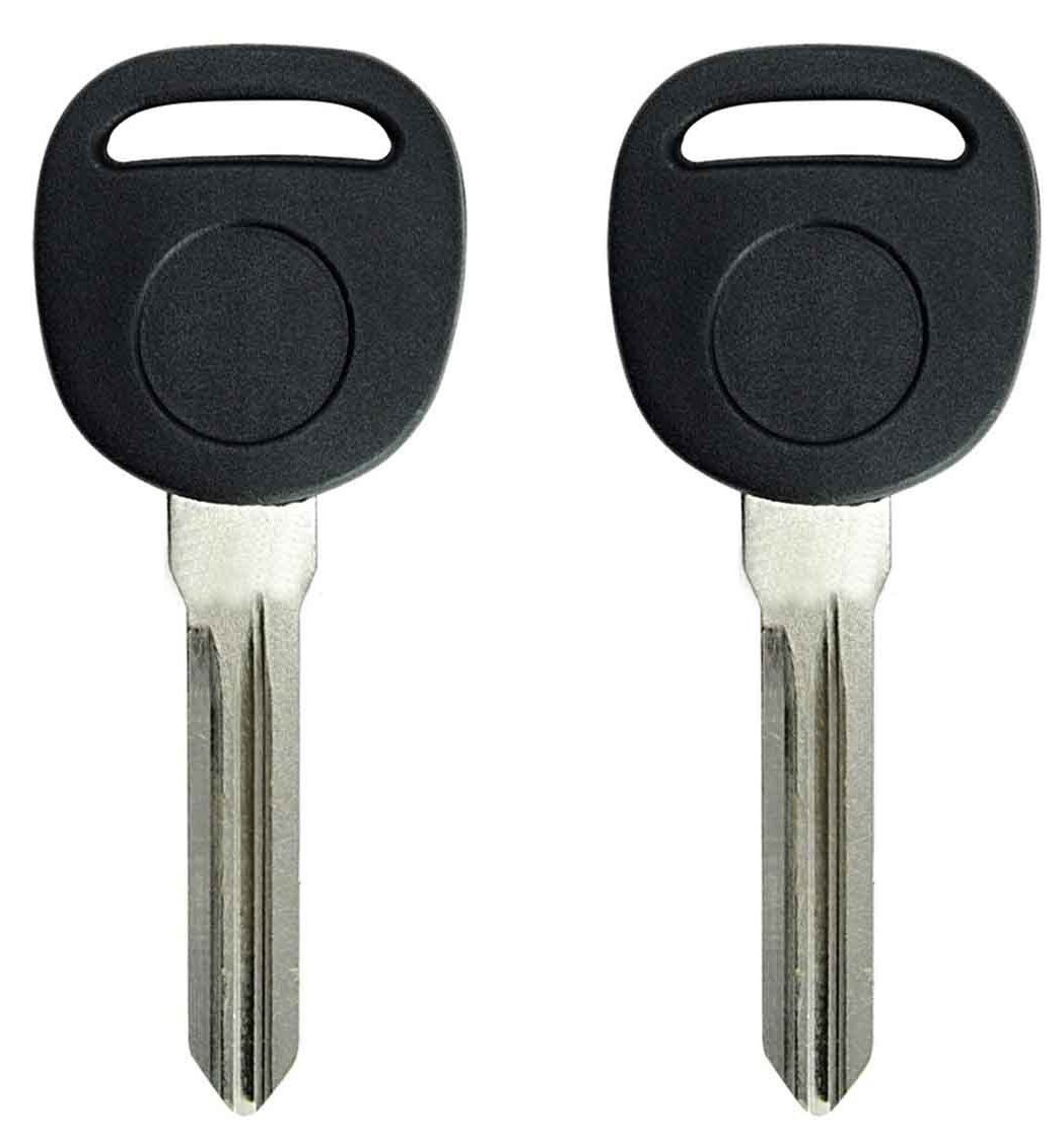 KeylessCanada ©   2X New Replacement Keyless Transponder Ignition Keys B111-PT ID 46 for Chevy GMC Buick Suzuki XL-7.  Circle +