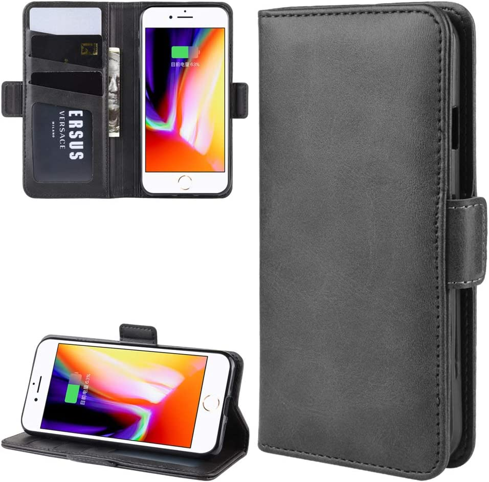 Luxury PU Leather Case for iPhone 7 Flip Wallet Card Slots Book Shockproof Stand Phone Cover(Magnetic) for iPhone 7 (iPhone 7,Black)