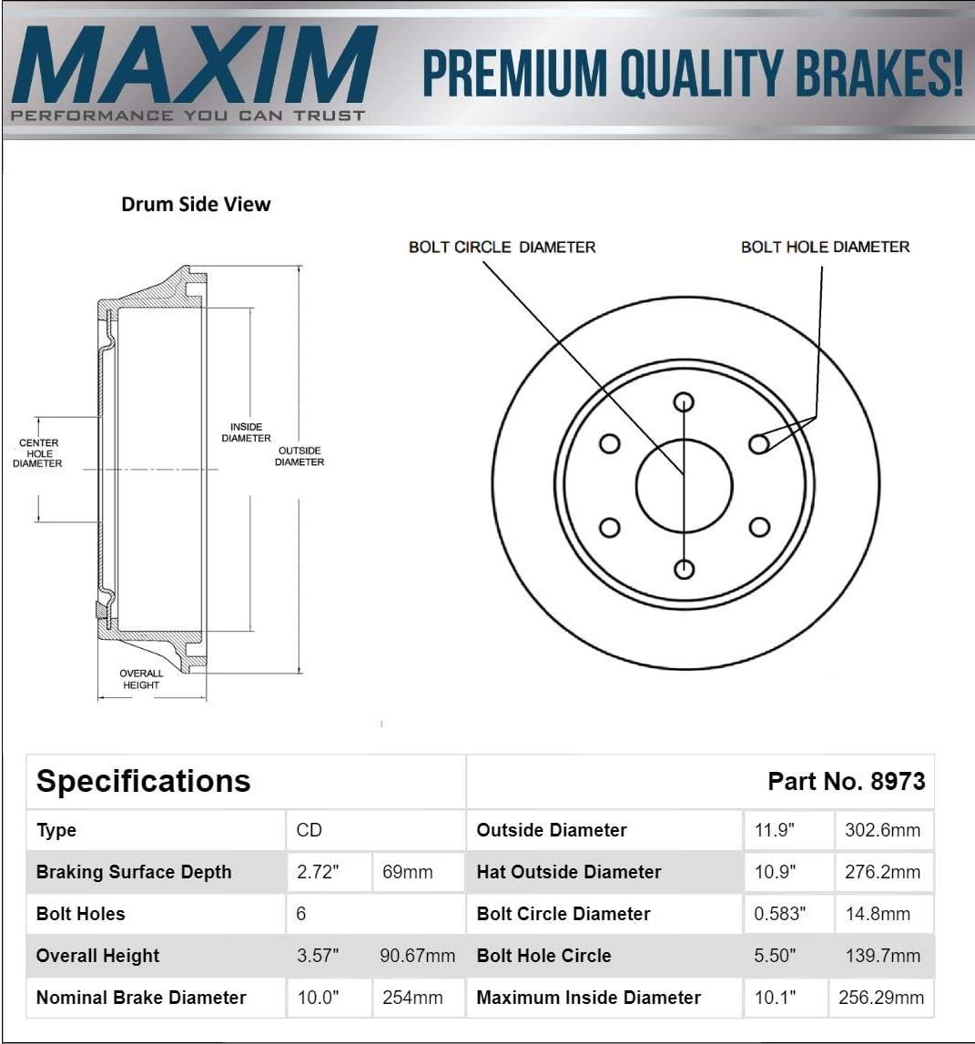 Rear Premium Quiet technology Brake Drums 8973