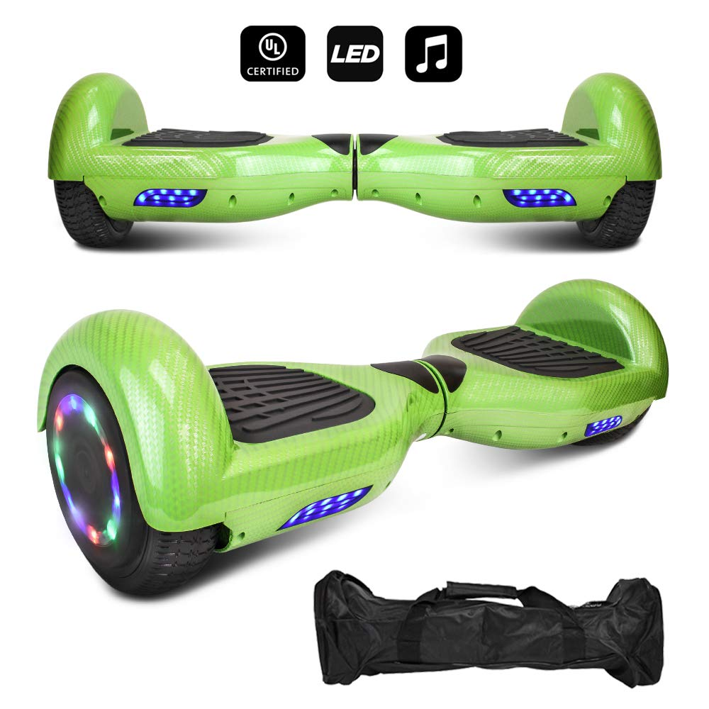 6.5'' inch Wheels Electric Smart Self Balancing Scooter Hoverboard with Speaker LED Light - UL2272 Certified (-Carbon Fiber Design Green)